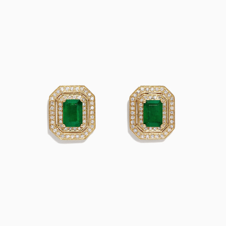 Effy Brasilica 14K Yellow Gold Emerald and Diamond Earrings, 2.28 TCW