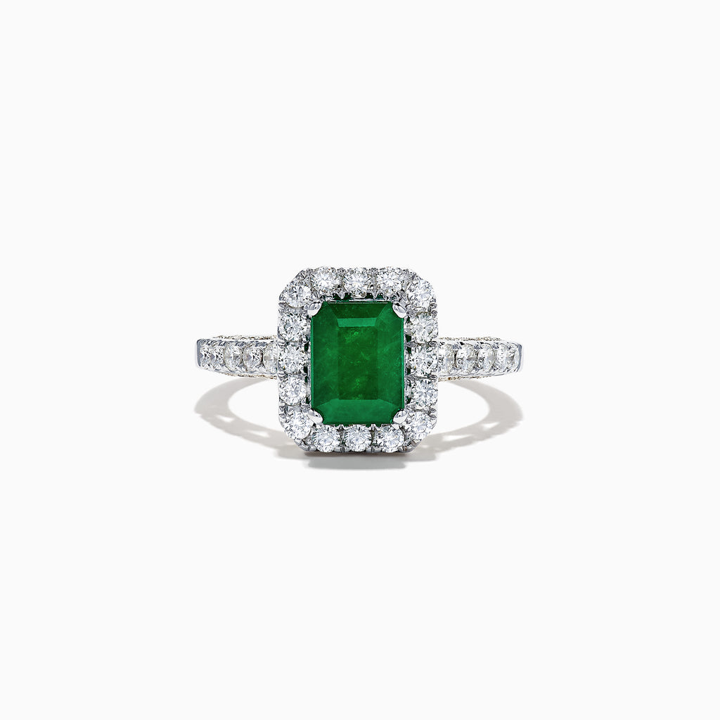 Effy Brasilica 14K 2-Tone Gold Emerald and Diamond Ring, 2.17 TCW