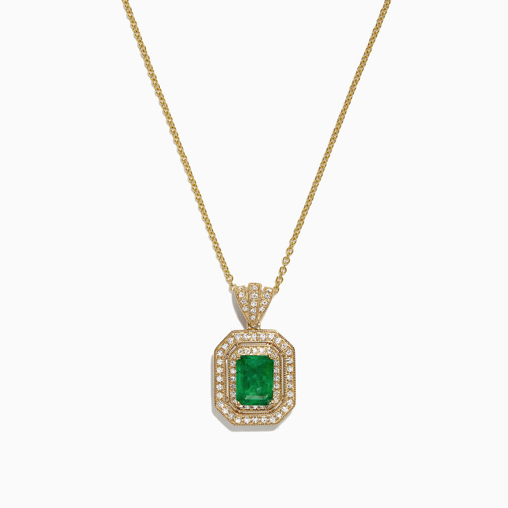 Effy Brasilica 14K Yellow Gold Emerald and Diamond Pendant, 1.71 TCW