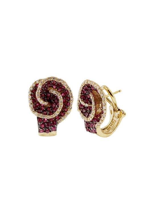 14K Yellow Gold Ruby and Diamond Earrings, 3.41 TCW