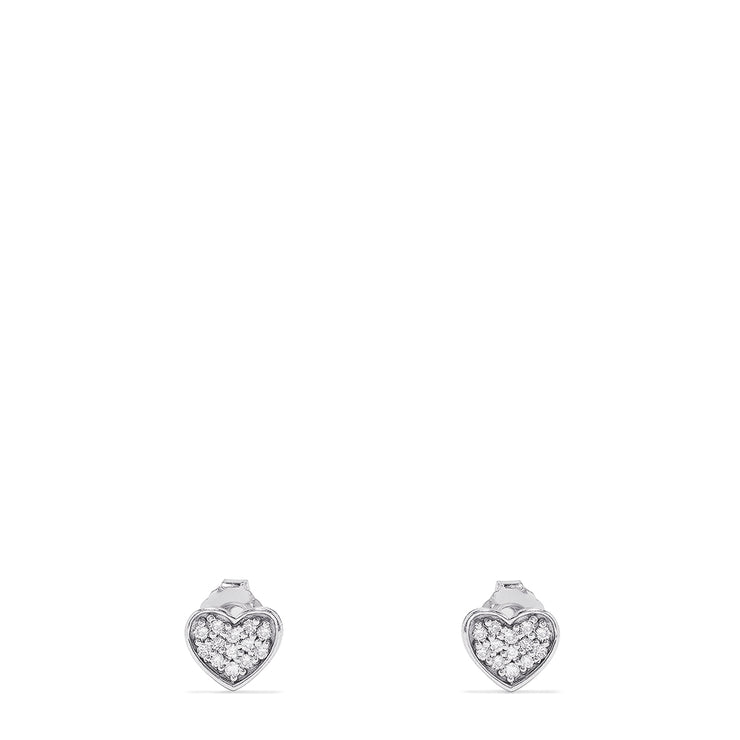 Effy 14K White Gold Diamond Heart Stud Earrings, 0.19 TCW
