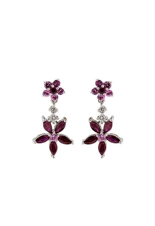 14K White Gold Multi Gemstone & Diamond Flower Earrings