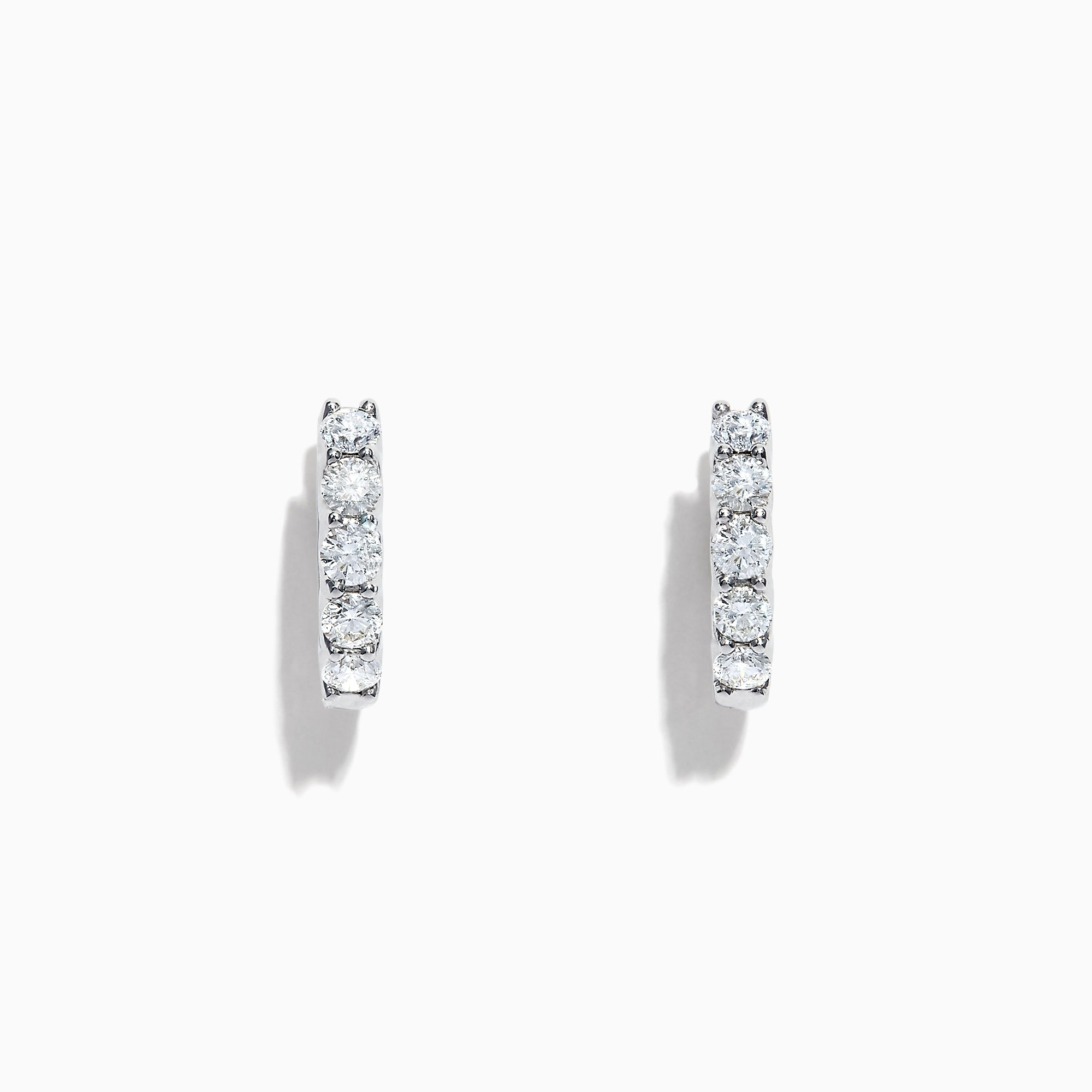 Effy Pave Classica 14K White Gold Diamond Hoop Earrings, 0.98 TCW