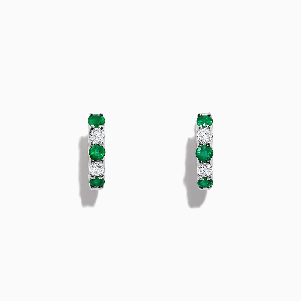 Effy Brasilica 14K White Gold Emerald and Diamond Hoop Earrings, 1.07 TCW