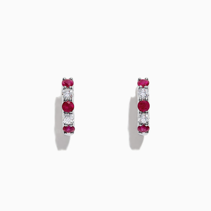 Effy Ruby Royale 14K White Gold Ruby and Diamond Hoop Earrings, 1.19 TCW
