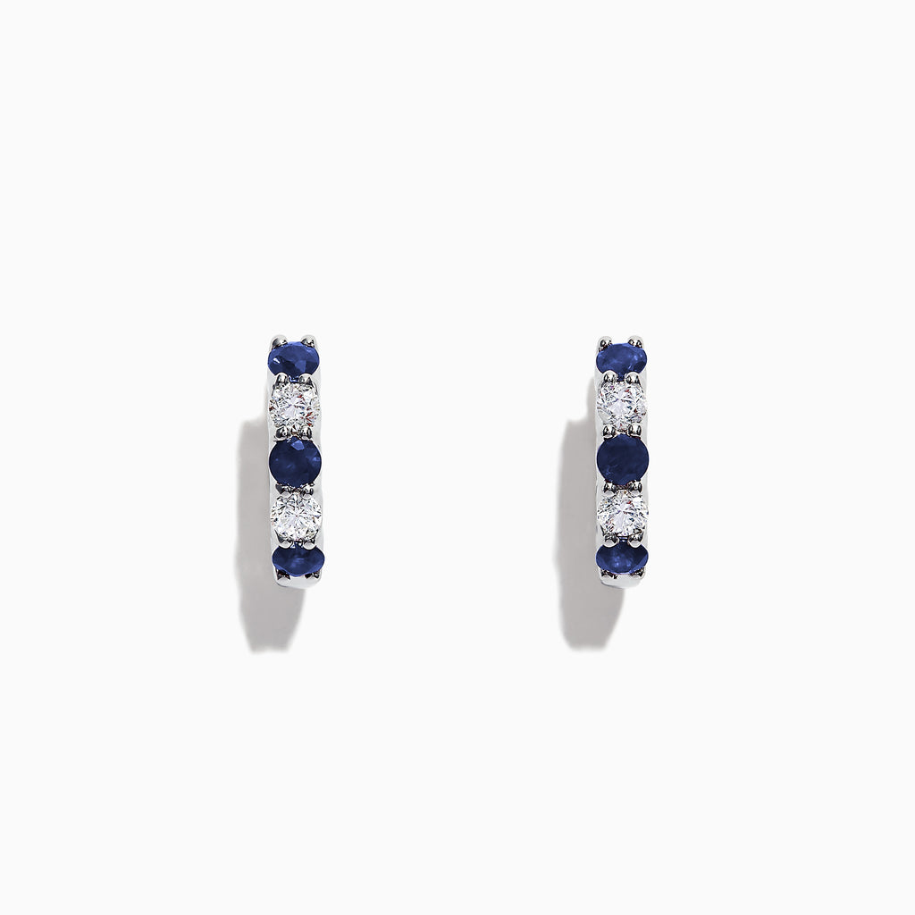 Effy Royale Bleu 14K Gold Sapphire and Diamond Hoop Earrings, 1.19 TCW