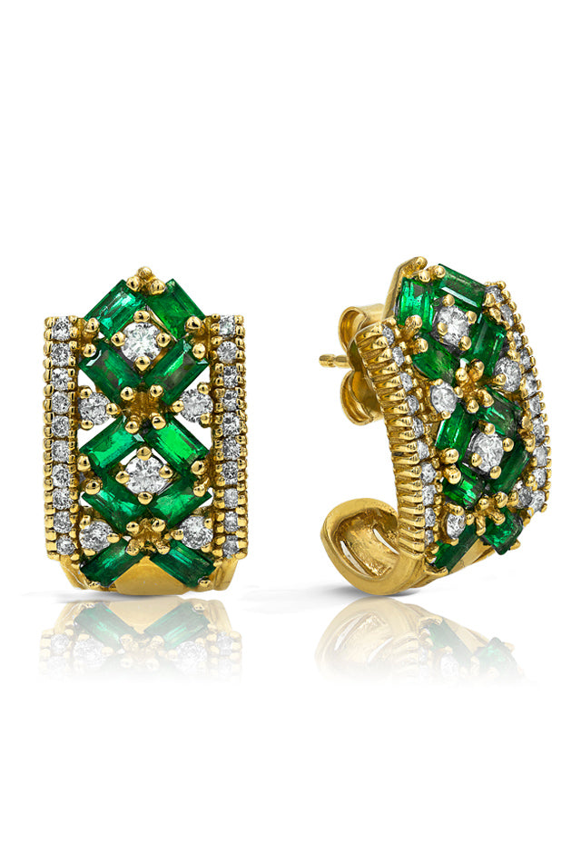 14K Yellow Gold Emerald and Diamond Earrings, 2.32 TCW