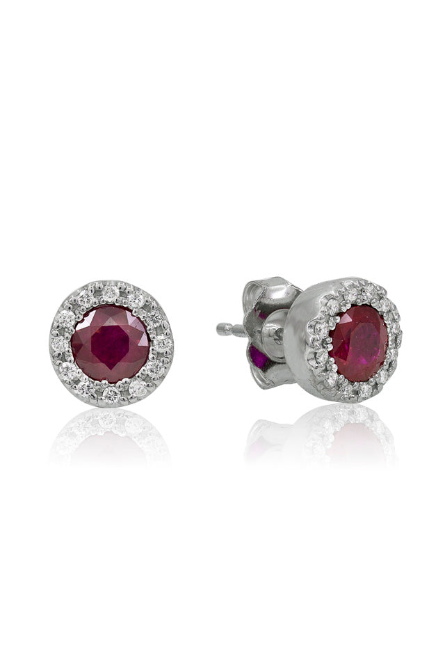 14K White Gold Ruby and Diamond Stud Earrings, .98 TCW
