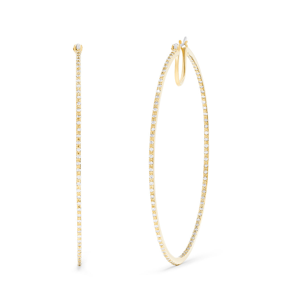 Effy 14K Yellow Gold Diamond Accented Large Hoop Earrings, 0.87 TCW