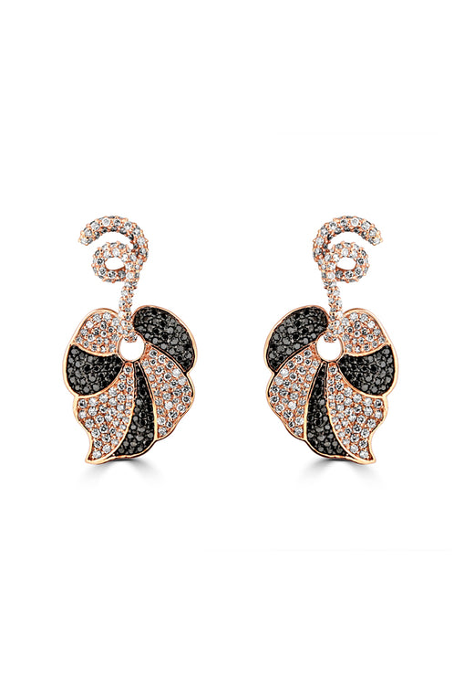 Effy 14K Rose Gold Black and White Diamond Earrings, 3.27 TCW