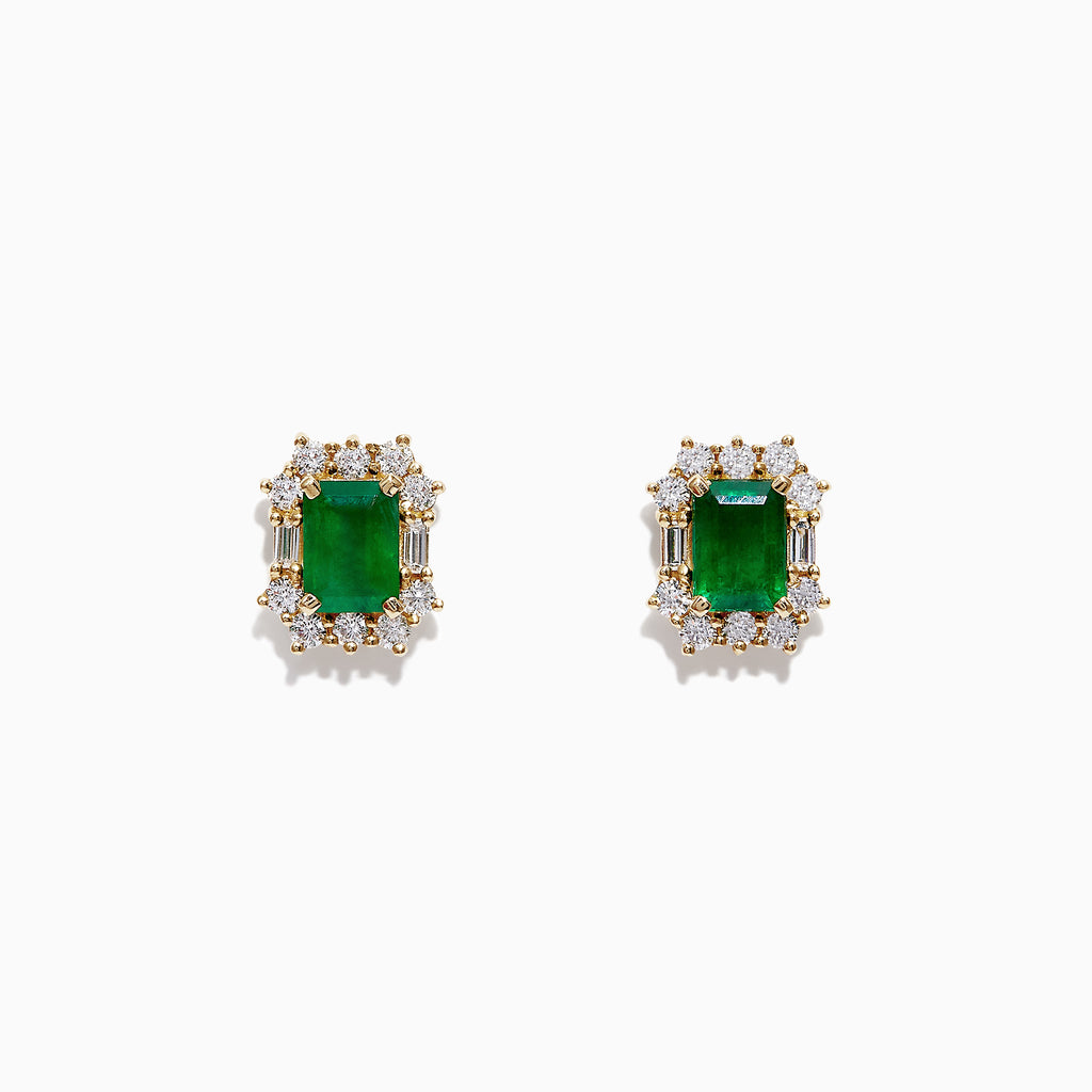 Effy Brasilica 14K Yellow Gold Emerald and Diamond Earrings, 2.66 TCW