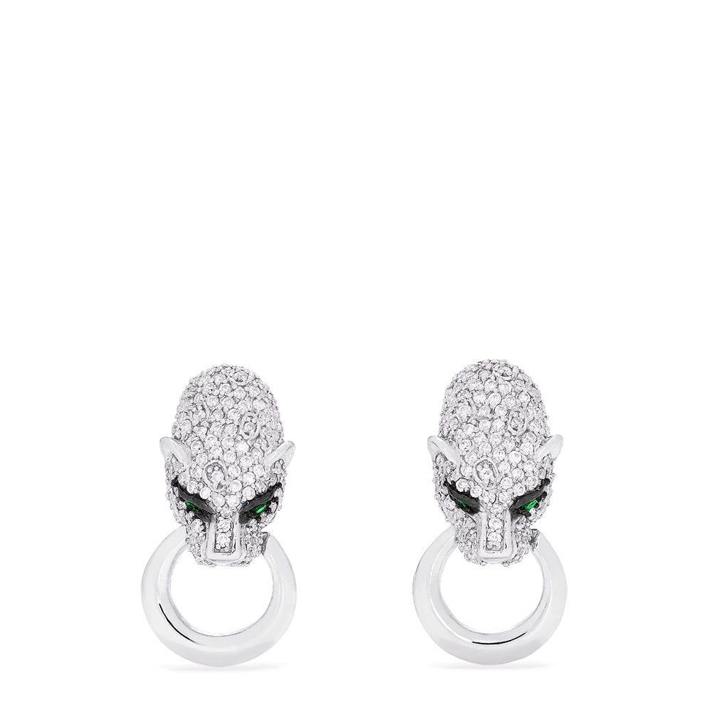 Effy Signature 14K White Gold Emerald & Diamond Panther Earrings, 1.17 TCW
