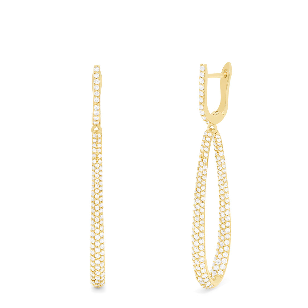 Effy D'Oro 14K Yellow Gold Diamond Drop Hoop Earrings, 2.08 TCW
