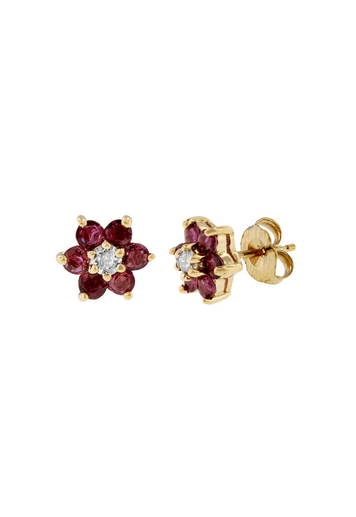14K Yellow Gold Ruby and Diamond Flower Stud Earrings