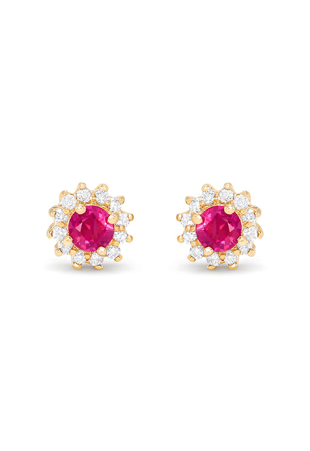Effy Gemma 14K Yellow Gold Ruby and Diamond Stud Earrings, 0.89 TCW