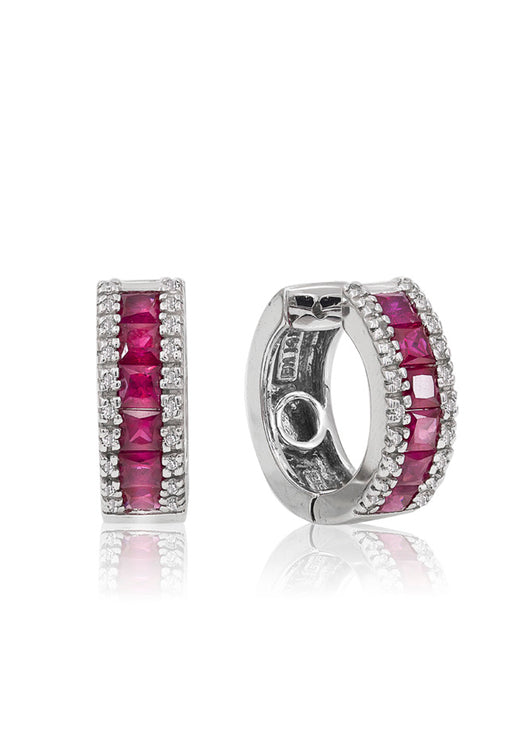 14K White Gold Ruby and Diamond Earrings, 1.76 TCW