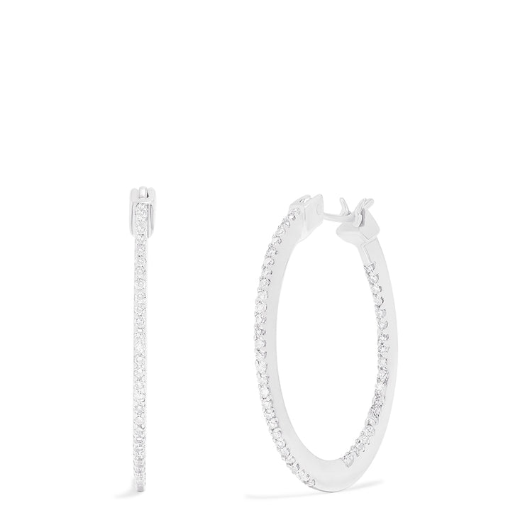Effy 14K White Gold Diamond Accented Hoop Earrings, 0.48 TCW
