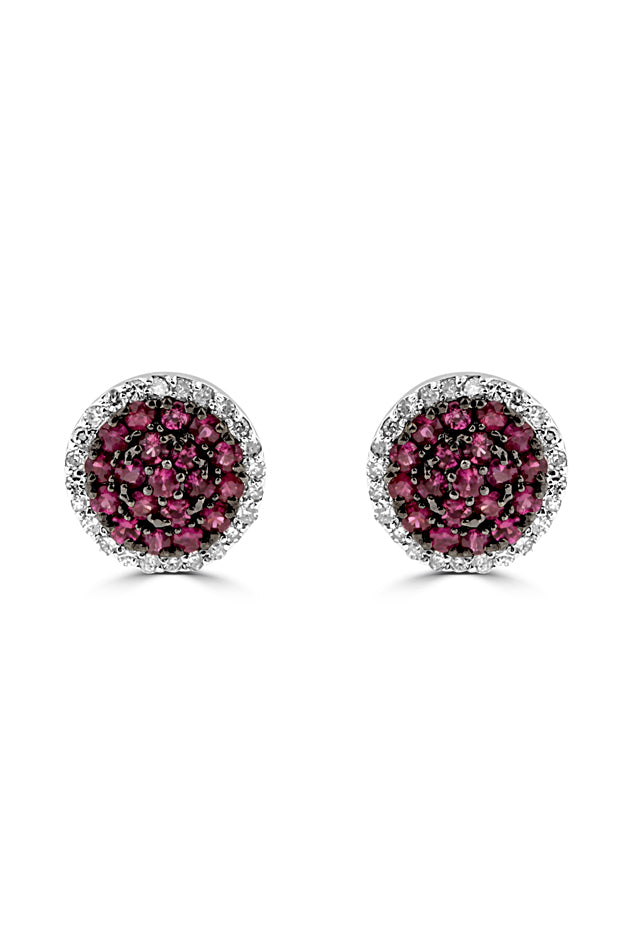 Effy 14K White Gold Ruby and Diamond Earrings, 0.78 TCW
