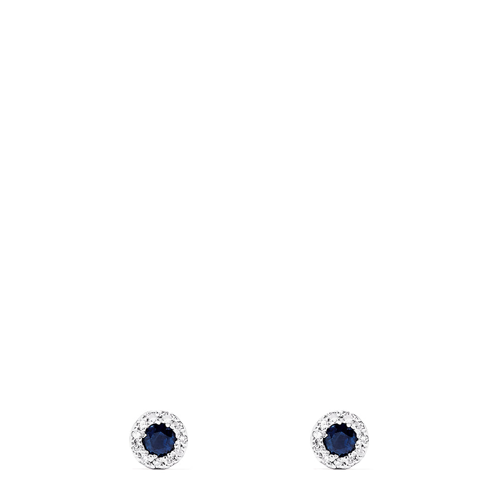 Effy Royale Bleu 14K White Gold Sapphire & Diamond Stud Earrings, 0.47 TCW