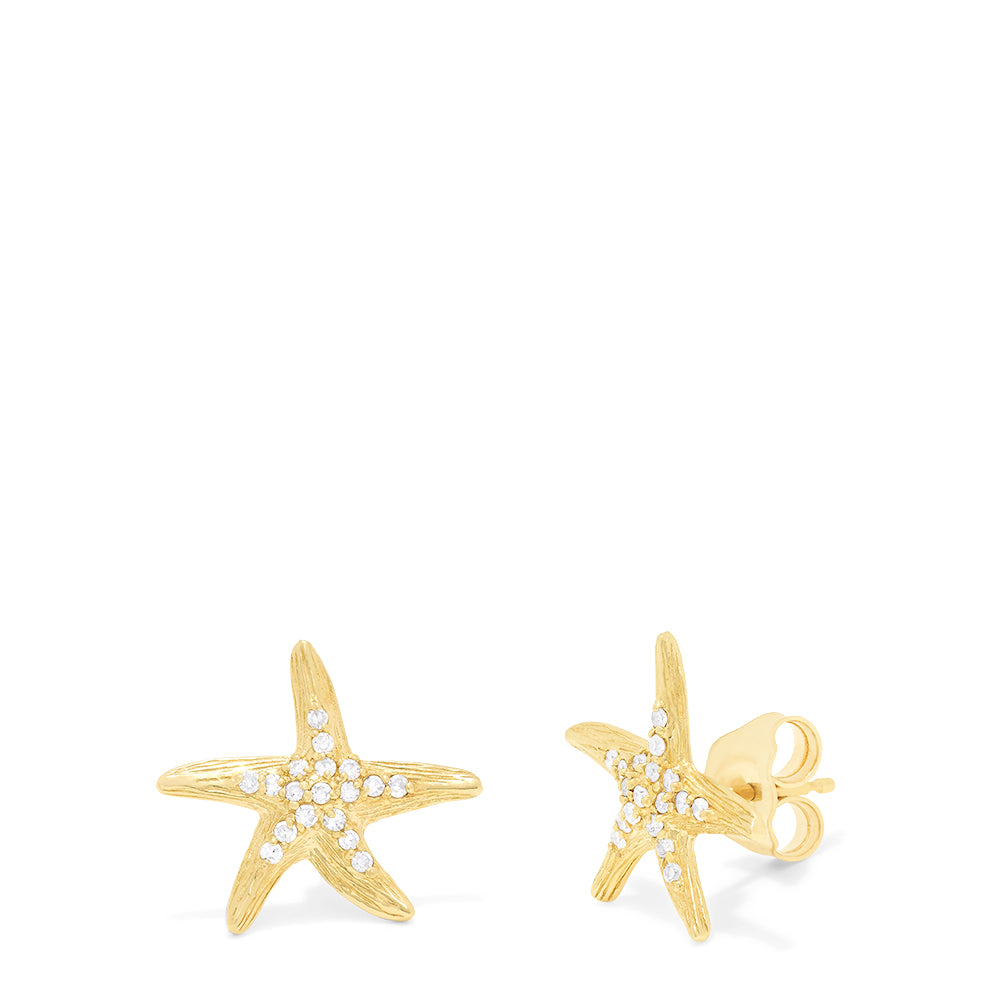 Effy Seaside 14K Yellow Gold Diamond Starfish Earrings, 0.18 TCW