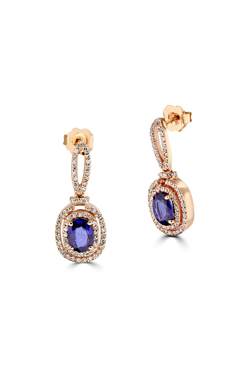 Effy 14K Rose Gold Blue Sapphire and Diamond Earrings, 2.46 TCW