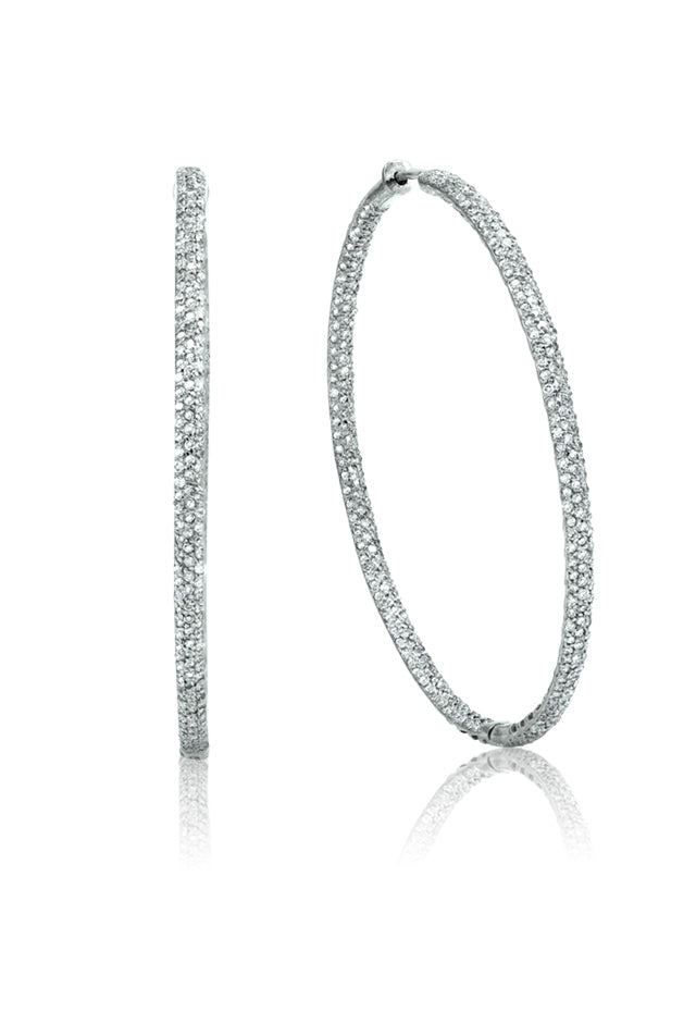 "14K White Gold Diamond 2"" Hoop Earrings, 1.91 TCW"