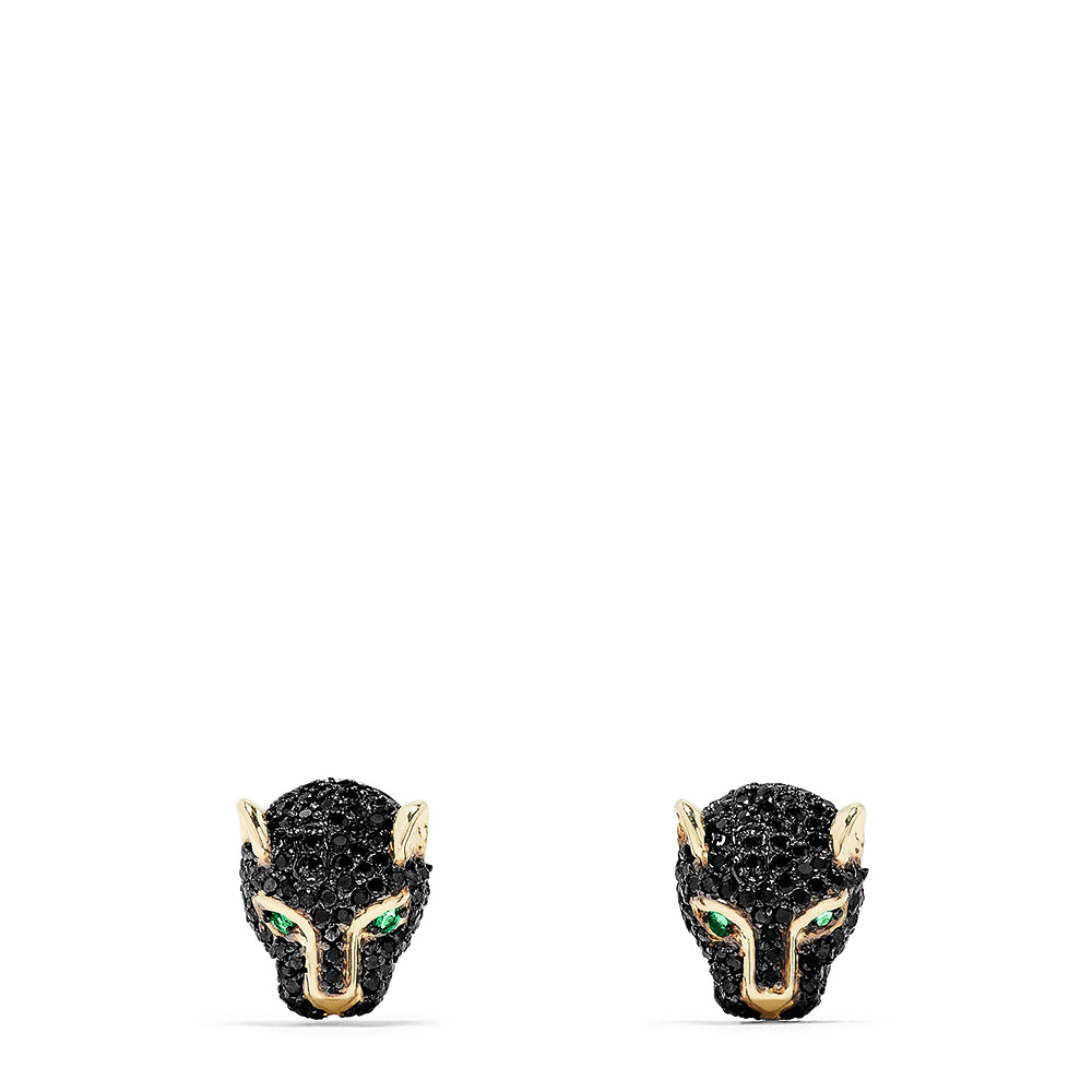 Effy Signature 14K Gold Black Diamond & Emerald Stud Earrings, 0.72 TCW