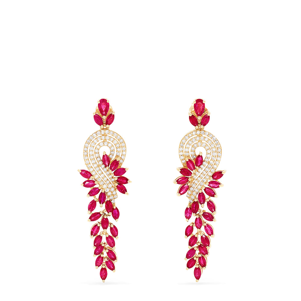 Effy Ruby Royale 14K Yellow Gold Ruby and Diamond Earrings, 6.97 TCW