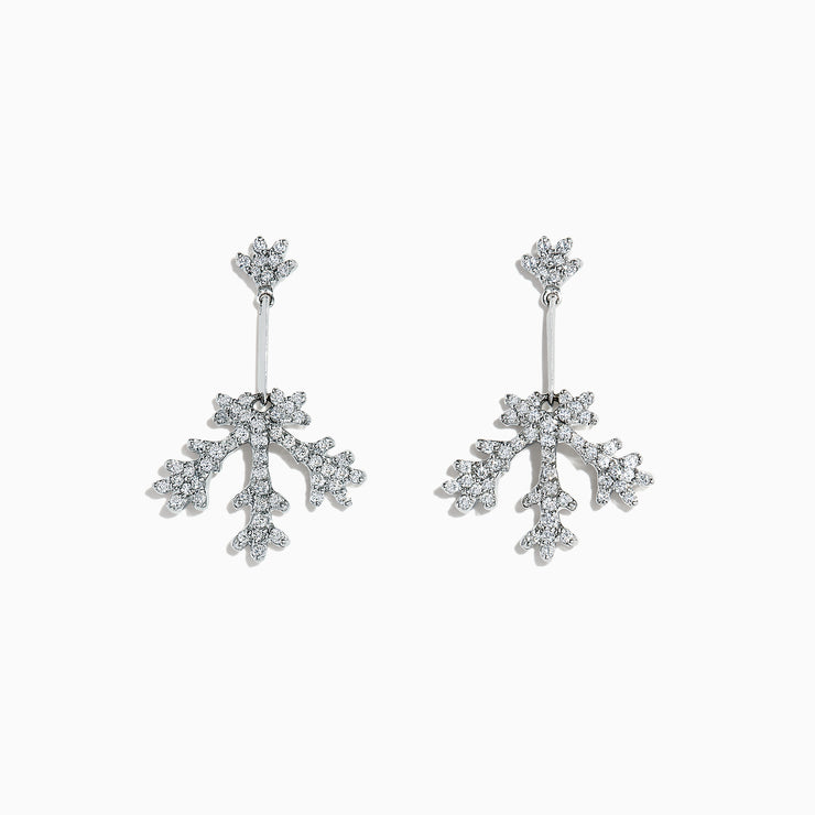 Effy 14K White Gold Diamond Snowflake Earrings, 0.78 TCW