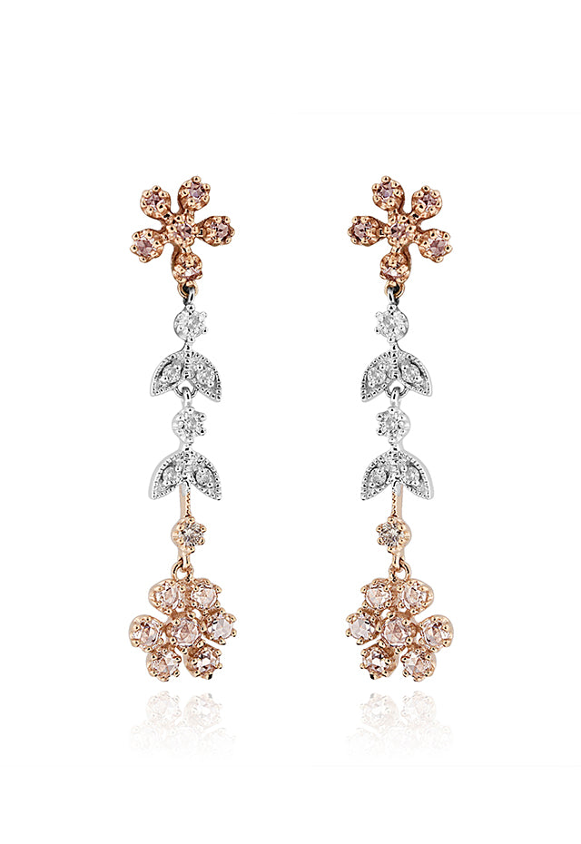Effy 14K White and Rose Gold Diamond Earrings, 1.22 TCW