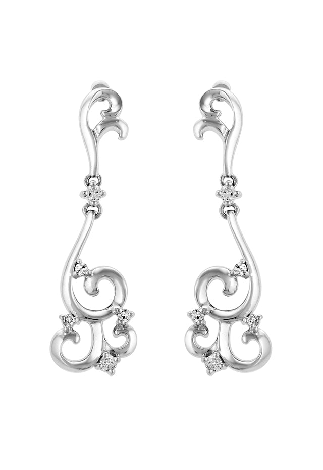 Effy 14K White Gold Diamond Filigree Earrings, 0.27 TCW