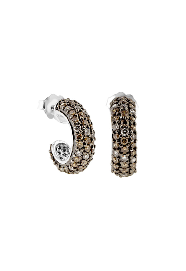 Effy 14K White Gold Cognac and White Diamond Earrings, 1.50 TCW