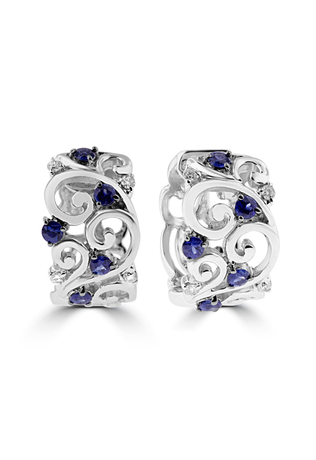 Effy 14K White Gold Blue Sapphire and Diamond Filigree Earrings, 1.11 TCW