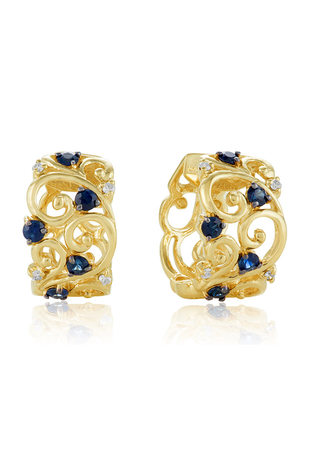 Effy 14K Yellow Gold Blue Sapphire and Diamond Filigree Earrings, 1.17 TCW