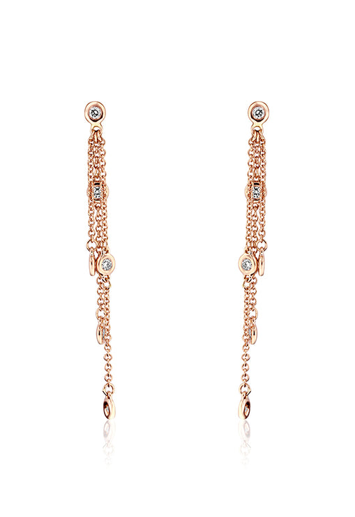Effy 14K Rose Gold Diamonds Station Earrings, 0.35 TCW