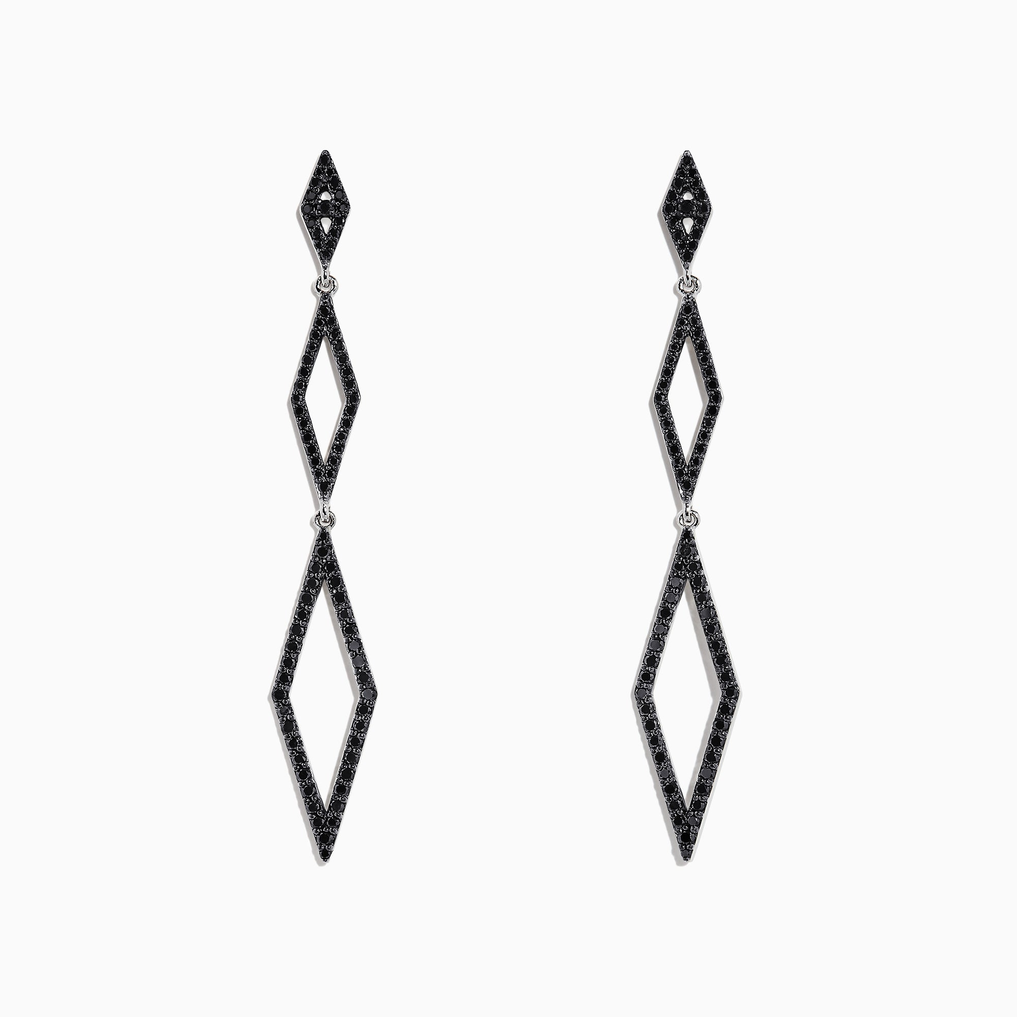 Effy 14K White Gold Black and White Diamond Earrings, 1.16 TCW