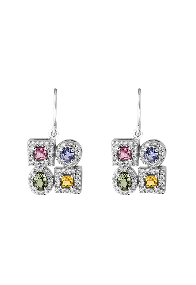Effy 14K White Gold Multi Sapphire and Diamond Earrings, 2.30 TCW