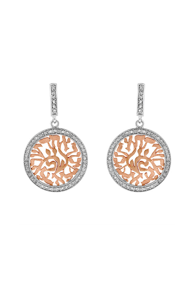 Effy 14K White and Rose Gold Diamond Shema Earrings, 0.41 TCW