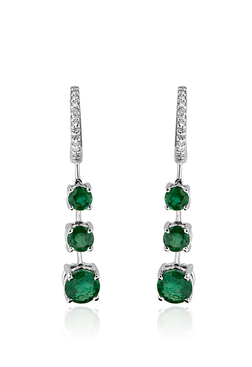 Effy 14K White Gold Emerald and Diamond Drop Earrings, 2.90 TCW