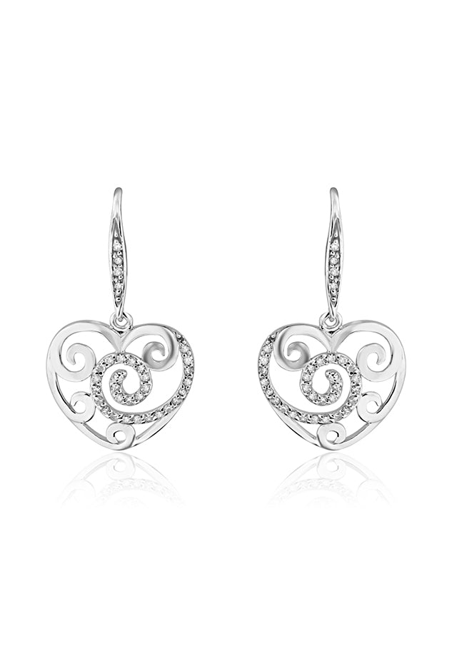 Effy 14K White Gold Diamond Accented Heart Earrings, 0.26 TCW