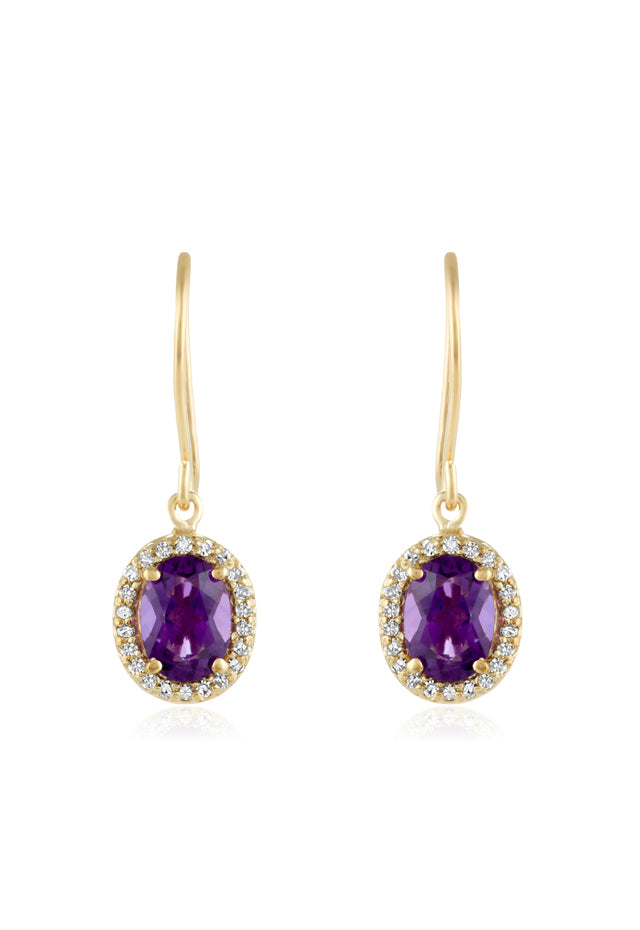 Effy 14K Yellow Gold Amethyst and Diamond Earrings, 1.59 TCW