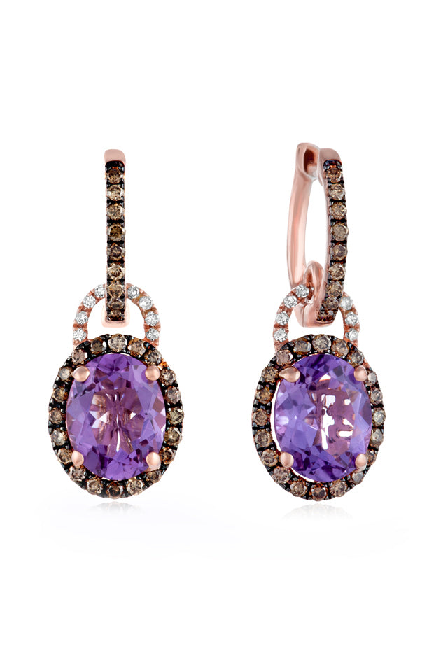 Effy 14K Rose Gold Amethyst and Diamond Earrings, 4.27 TCW
