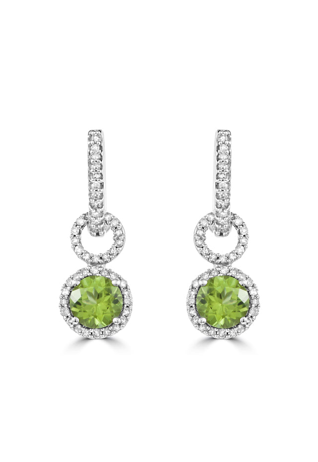 Effy 14K White Gold Peridot and Diamond Earrings, 1.95 TCW