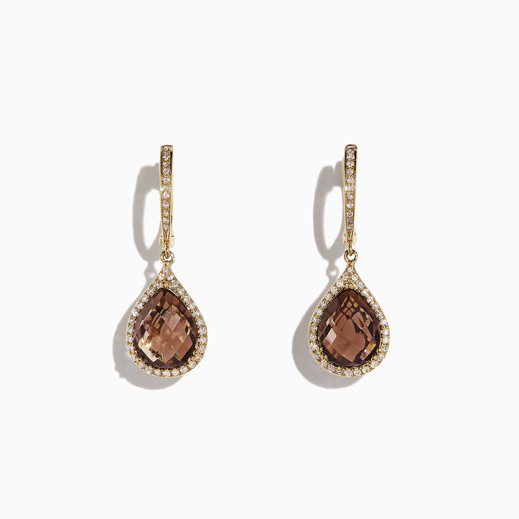 Effy 14K Yellow Gold Smokey Quartz and Diamond Earrings, 5.24 TCW