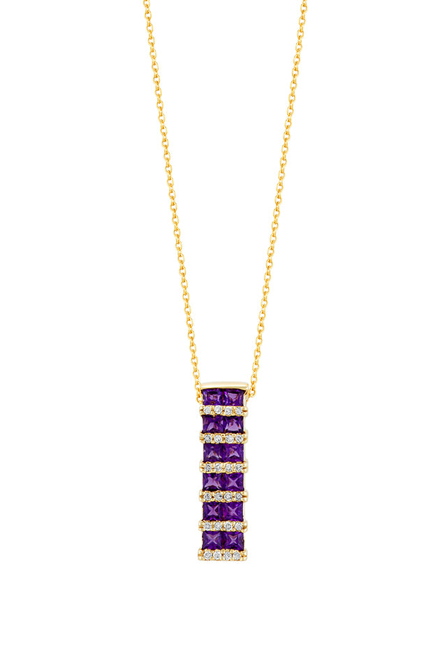 Effy 14K Yellow Gold Amethyst and Diamond Pendant, 1.72 TCW