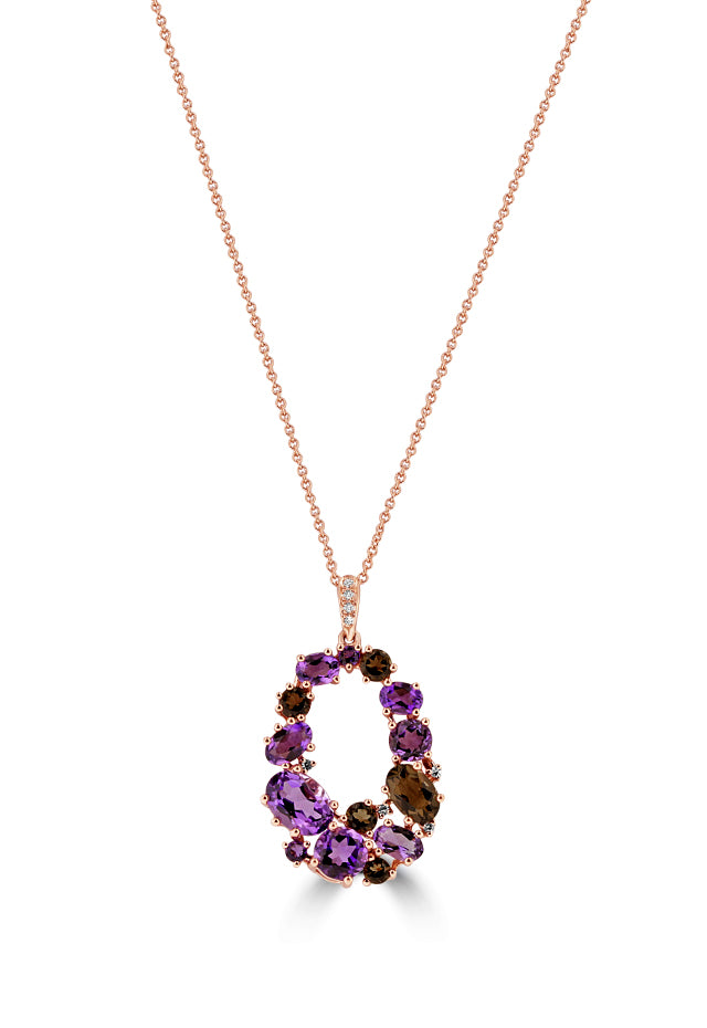 Effy 14K Rose Gold Amethyst, Smokey Quartz and Diamond Pendant, 3.56 TCW