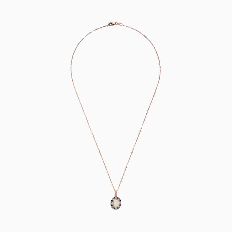 Effy 14K Rose Gold Opal and Diamond Pendant, 1.05 TCW