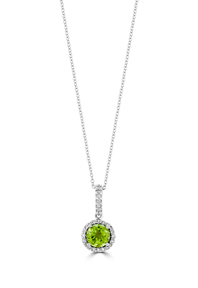 Effy 14K White Gold Peridot and Diamond Pendant, 0.93 TCW
