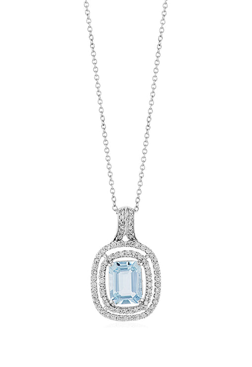 Effy 14K White Gold Aquamarine and Diamond Pendant, 1.71 TCW