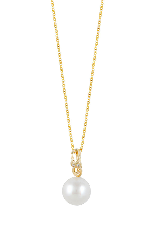 Effy 14K Yellow Gold Cultured Pearl and Diamond Pendant, 0.01 TCW